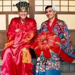 Allan and I playing dress up in Okinawa. The kimono I'm wearing is for women, but it was much more interesting than the drab costumes for men.