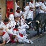 "The Running of the Bulls. The San Fermín festival - with its famous ""Running of the Bulls"" - used to be celebrated in autumn. However, in 1591, the Pamploneses decided they were sick of the rainy fall weather and decided to move their Patron Saint day to July 7th. (Photo courtesy of latimes.com)"