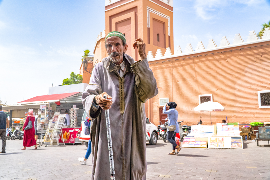 A Tour in Marrakech Gone Awry. This gentleman stopped by our cafe in the medina. Someone invited him to a free cup, and then he stood and offered a prayer, which is pictured here.