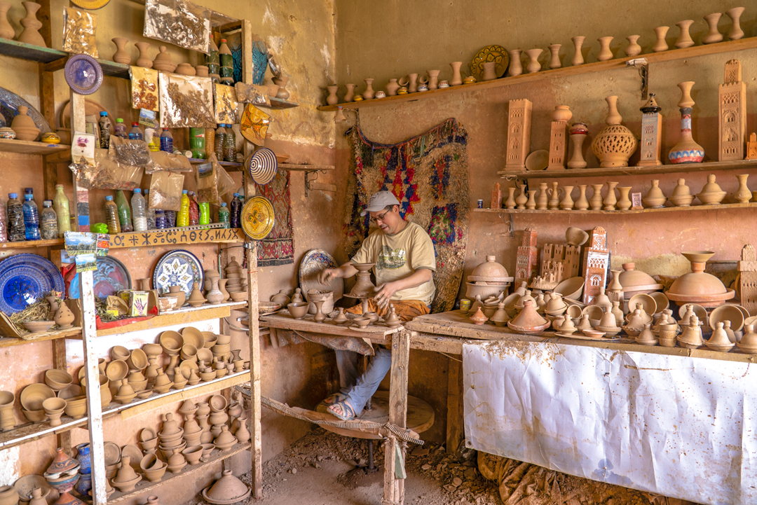 A Tour in Marrakech Gone Awry. Our first stop consisted of this store and shop where pottery is fired from red clay and left unglazed.