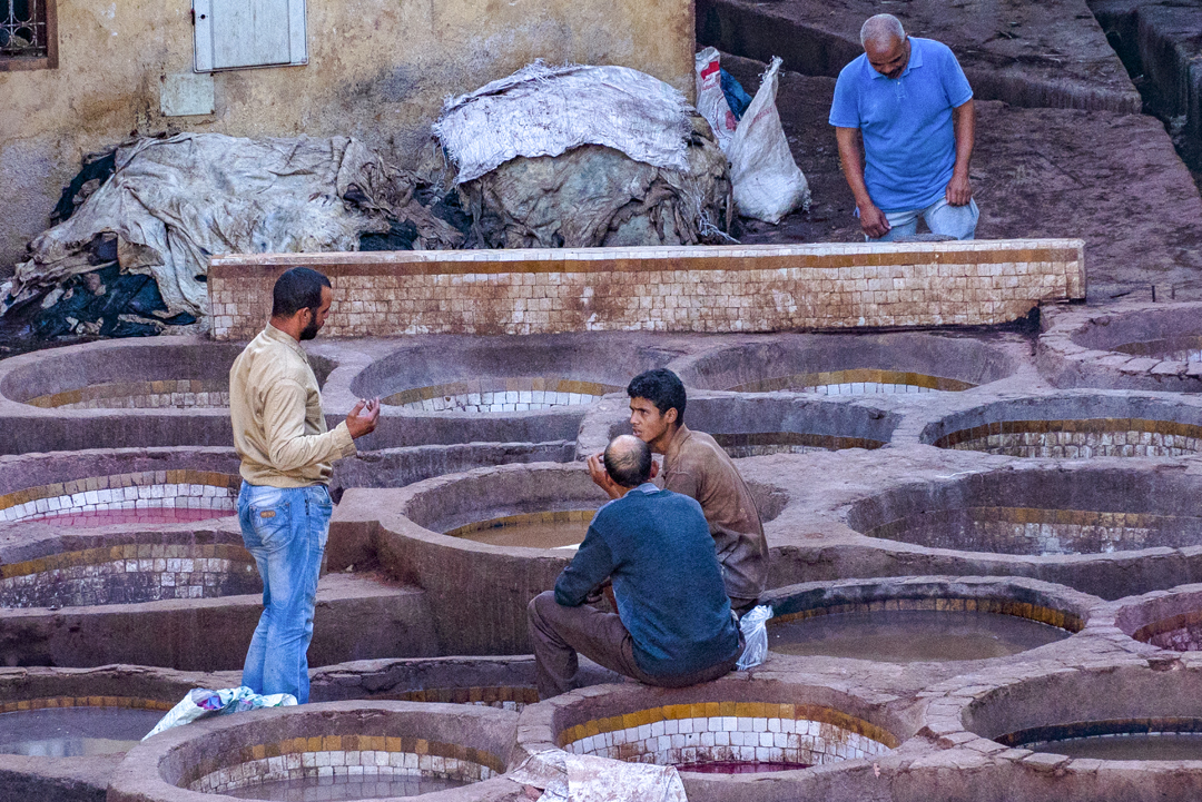 The Fez Tanneries. The leather made in Fez is exported worldwide.