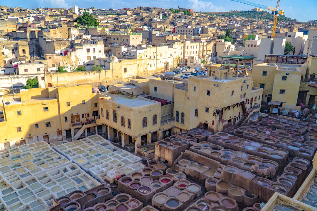 The Fez Tanneries. Chouara Tannery the largest of 3 tanneries in Fez, Morocco. Built in the 11th century, the tannery serves as the largest in the city.