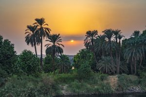 Sunset on the Nile River in Egypt.