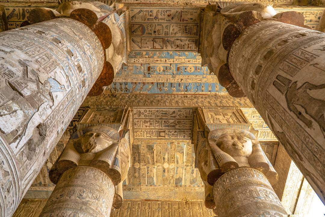 "The columns in Hathor Temple represent the four cardinal points of the universe and symbolize the goddess Hathor, also known as the ""Lady with the four Faces""."