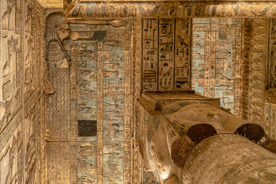 The sun goddess Nut seen here swallows the sun on the ceiling of Hathor Temple.