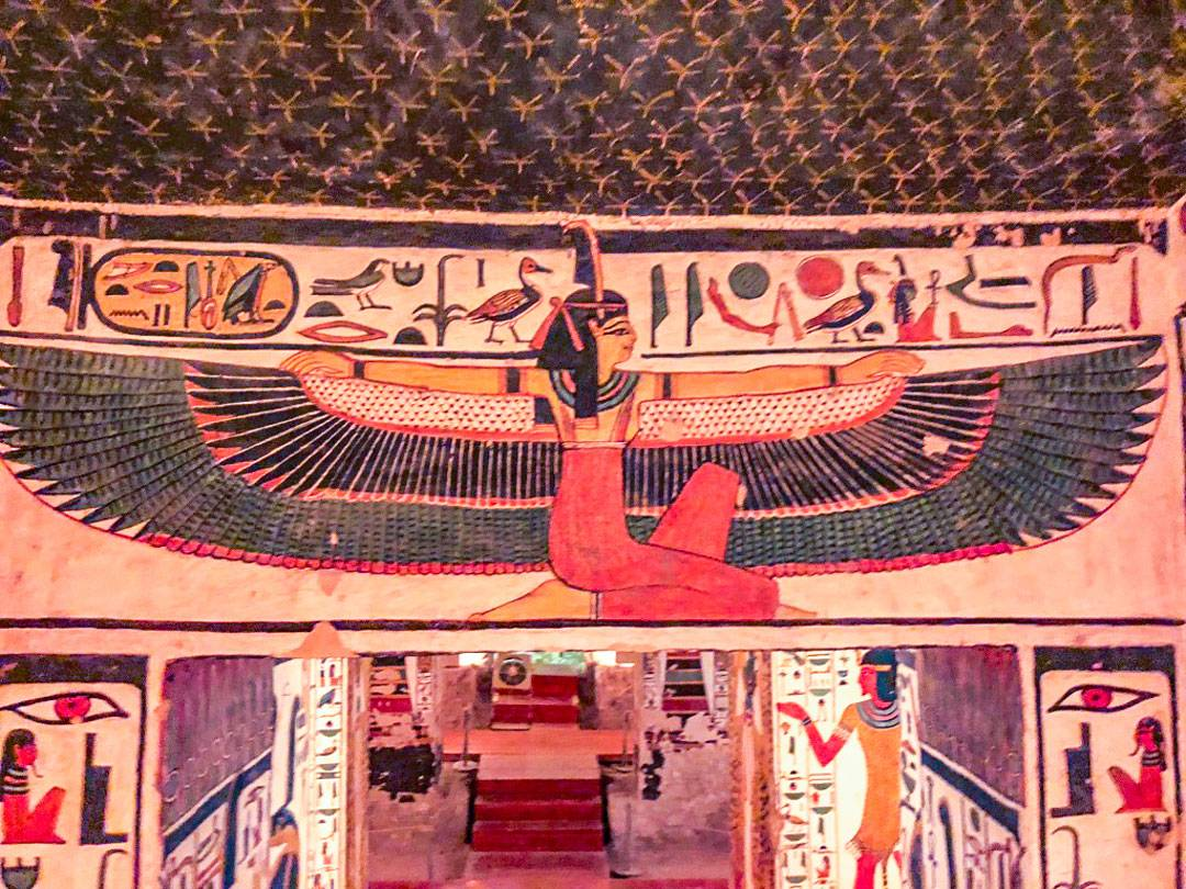 Photos of Nefertari's tomb. Maat, the goddess of truth and cosmic order, protects Nefertari with her outstretched wings covered in ostrich feathers. Ostrich feathers have an intrinsic ability to hold electrostatic charges, and are hence known as collectors.