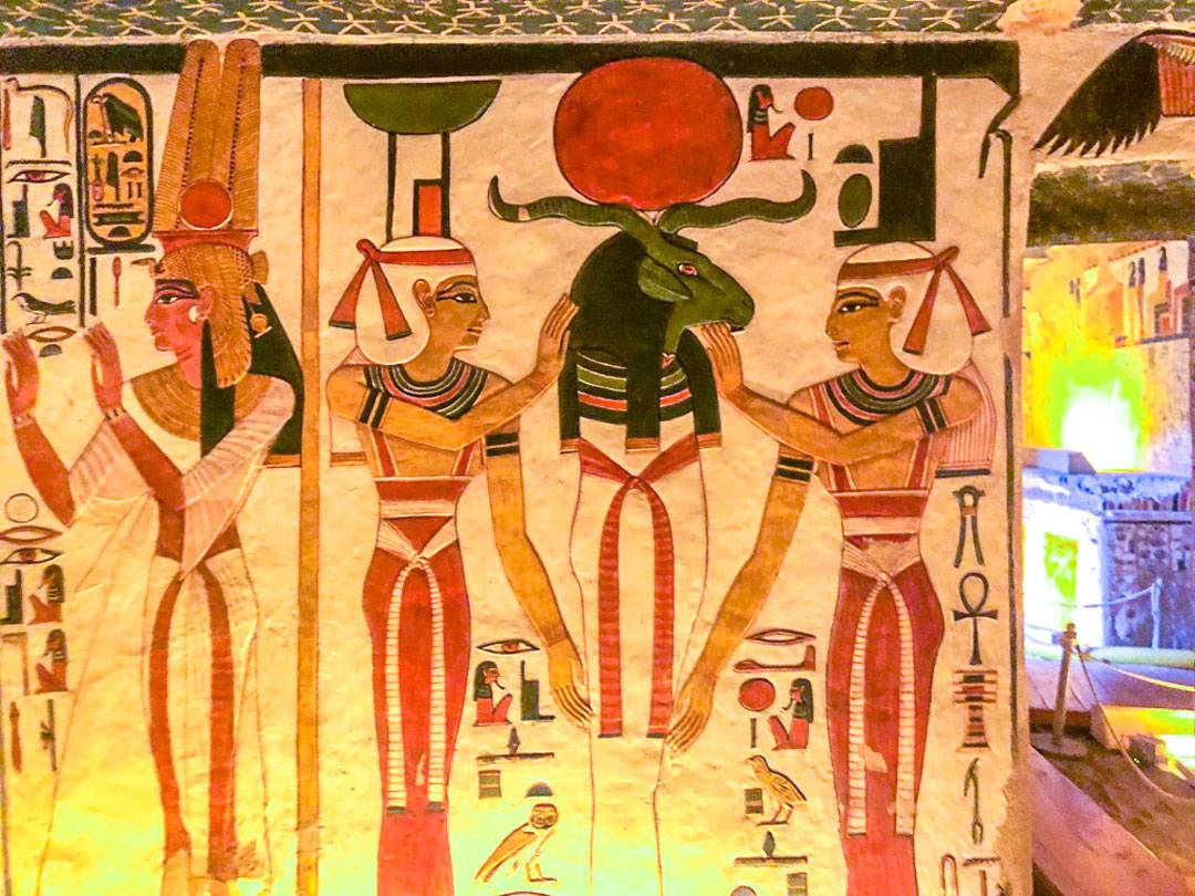 Photos of Nefertari's tomb. The green god here is Khnum, considered to make the bodies of children from clay and place them in a mother's uterus.