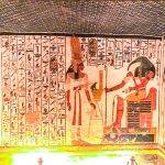 Photos of Nefertari's Tomb. Nefertari is seen here with Goddess Heqet, the goddess of fertility.