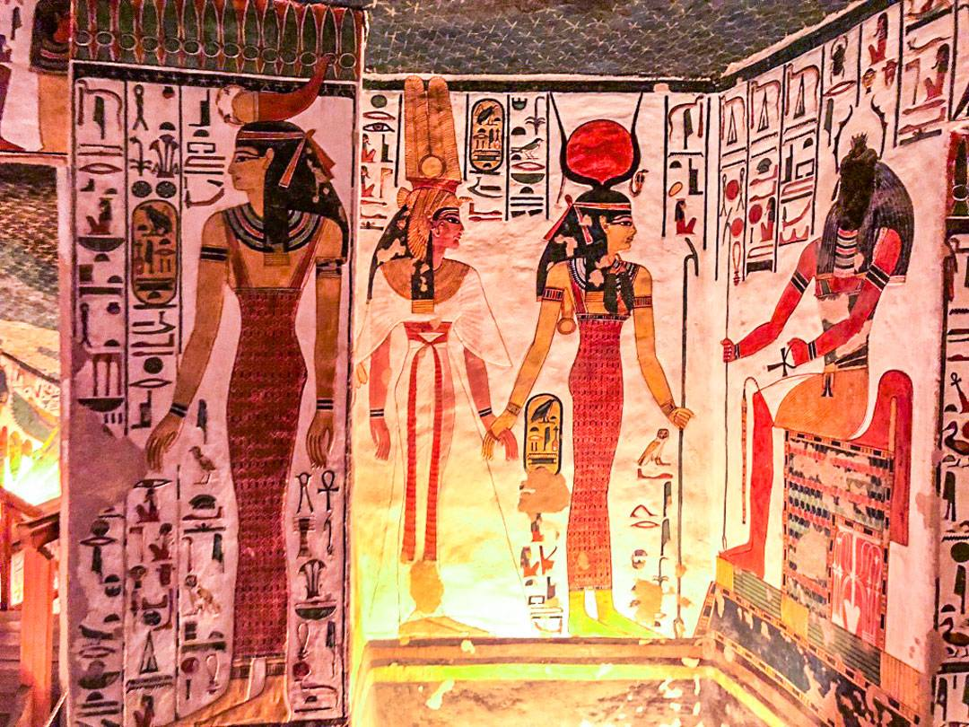 Photos of Nefertari's tomb. Piece's of Nefertari's mummy were discovered in the burial chamber and transported to the Egyptian Museum in Turin by Schiaparelli, where they remain to this day.