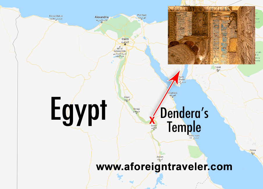 Map to Dendera's Temple in Qena, Egypt, Home to Hathor Temple