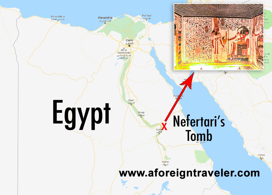 Map to Nefertari's Tomb in the Valley of the Queens in Luxor, Egypt.