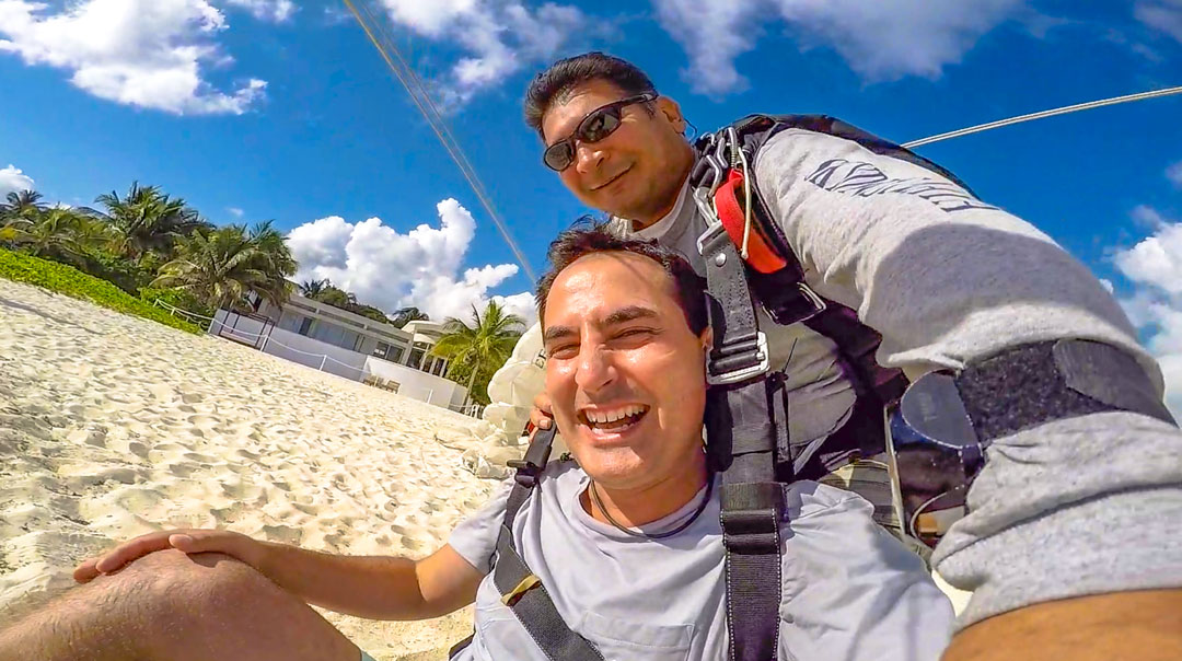 Playa del Carmen Skydiving. As we came in for the beach landing, I could not stop from laughing. It was so much fun, plus the reaction helped to relieve the stress I had been feeling previously.