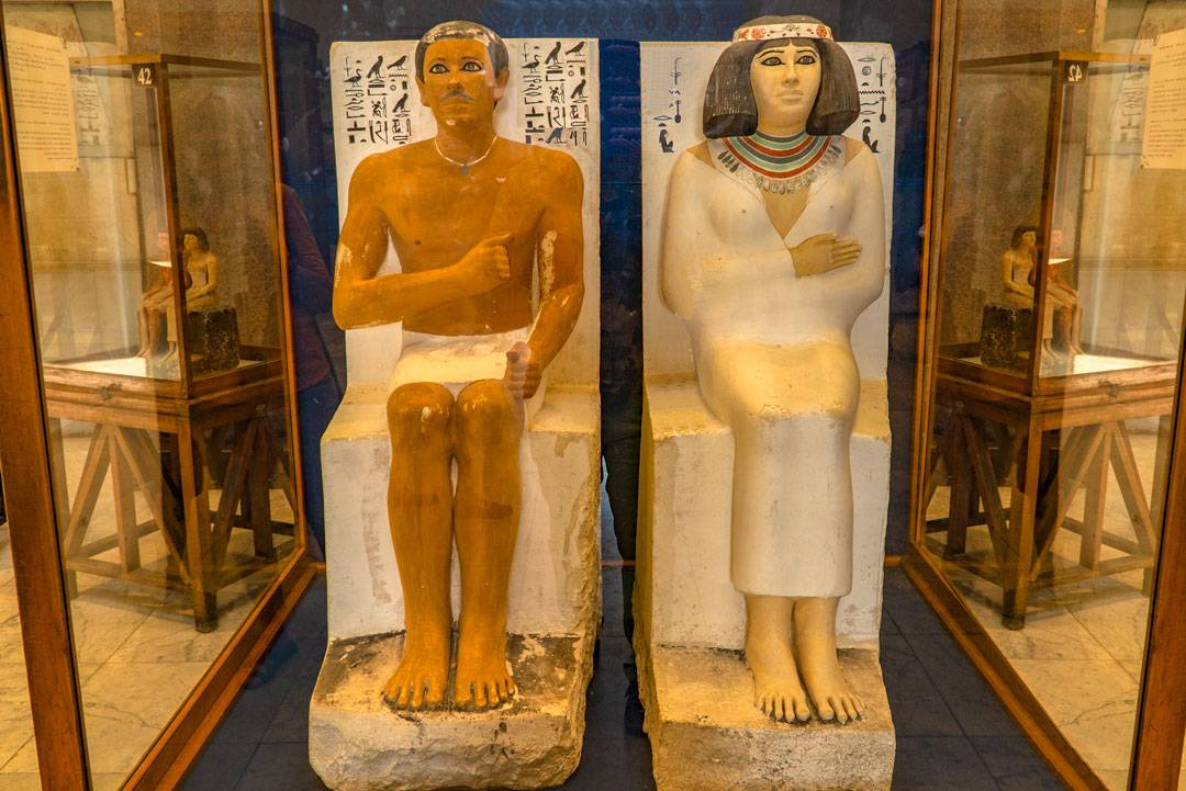 The Statues of Rahotep and Nofret measure 120cm (3.9 feet) high.  Albert Daninos discovered them in 1871.