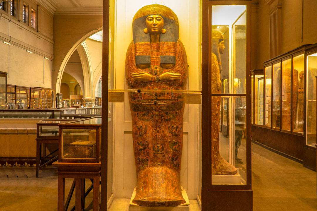 Mummies on display in the halls of the Egyptian Museum in Cairo. To mummify a body, Egyptians removed all moisture from a body. Then bodies were wrapped and treated for 70 days until the embalming process completed.