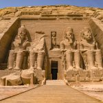 Abu Simbel Travel Guide. The grand temple faces east, so during the spring and summer solstices, the sunlight at dawns aligns with the temple entrance illuminating 3 of the 4 statutes inside. Miraculously the statue of Ptah, the god of darkness, remains in the shadows.