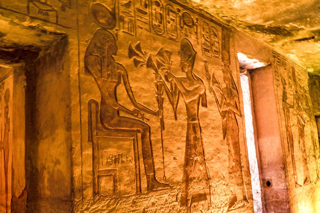 Abu Simbel Travel Guide. Relief inside the Temple of Hathor and Nefertari.
