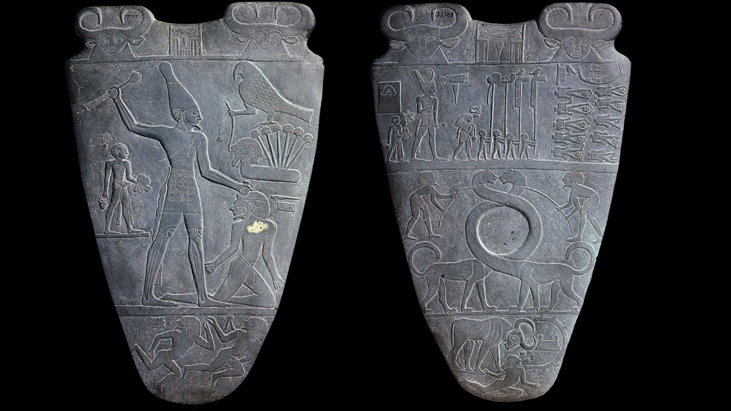 The Narmer Palette in the Egyptian Museum in Cairo.  Some believe the tablet depicts the unification of Upper and Lower Egypt under King Narmer.  Photo courtesy of Wikipedia.com.