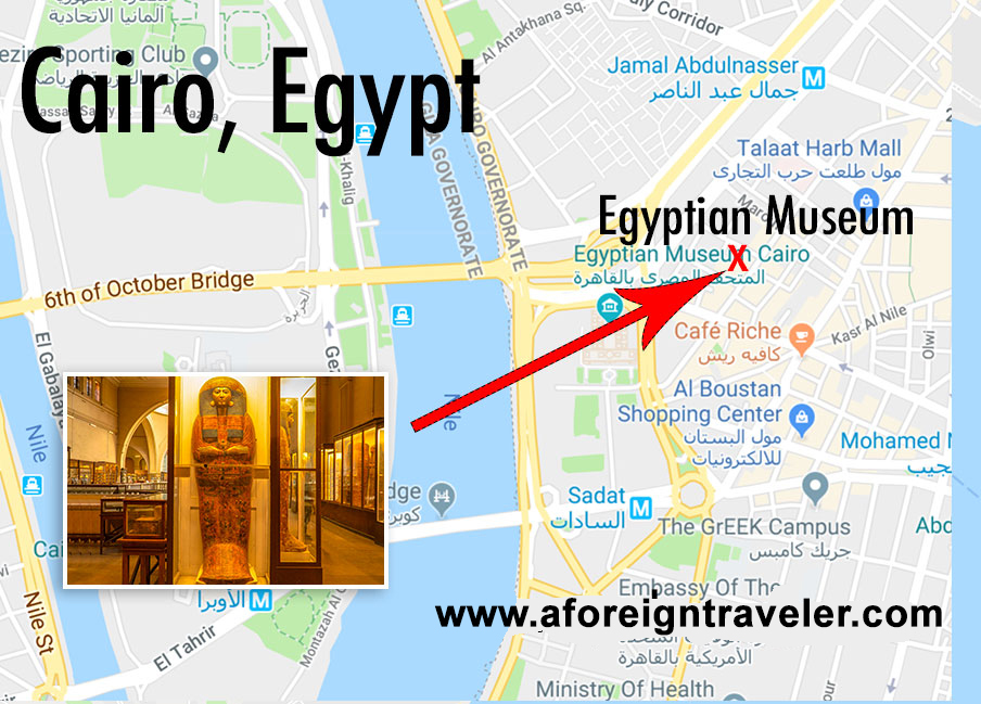 Map to the Egyptian Museum in Cairo, Egypt