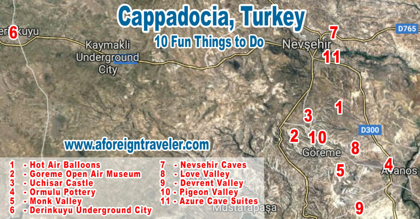Map of Cappadocia Turkey - The Top 10 Best Things to Do