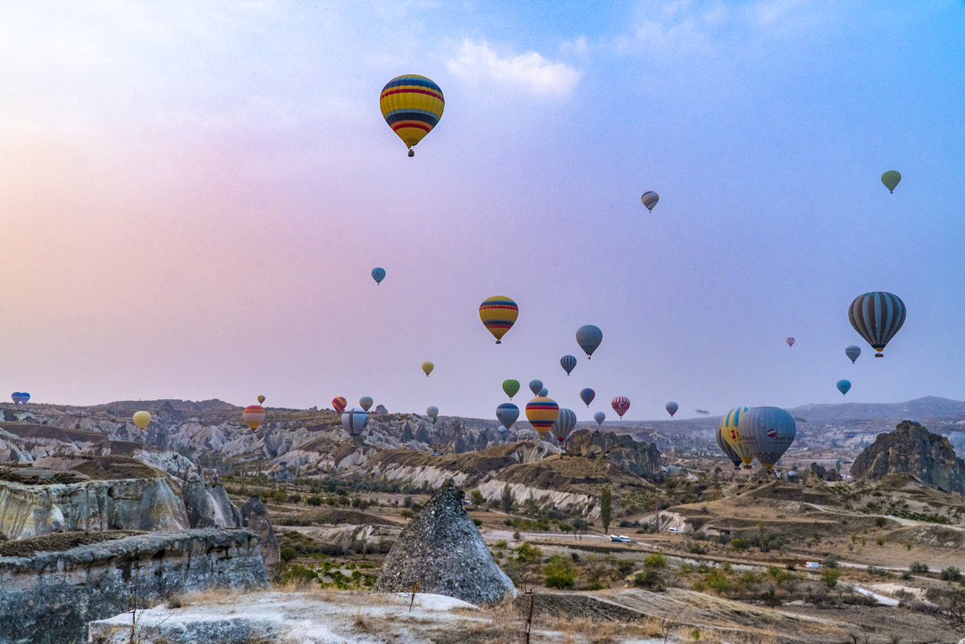 Hot air balloons in Goreme, Cappadocia. As many as 150 balloons take off each day.