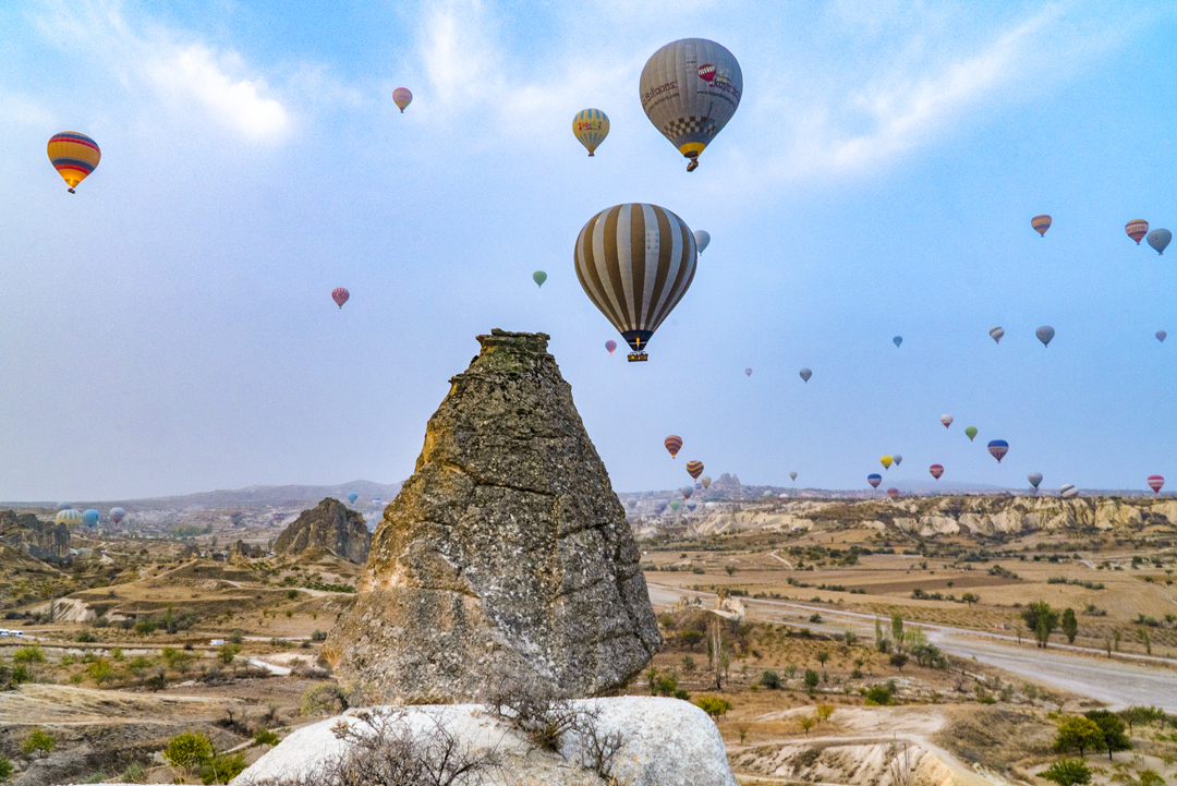 Roughly a half a million people ride in hot air balloons annually in Cappadocia, Turkey.