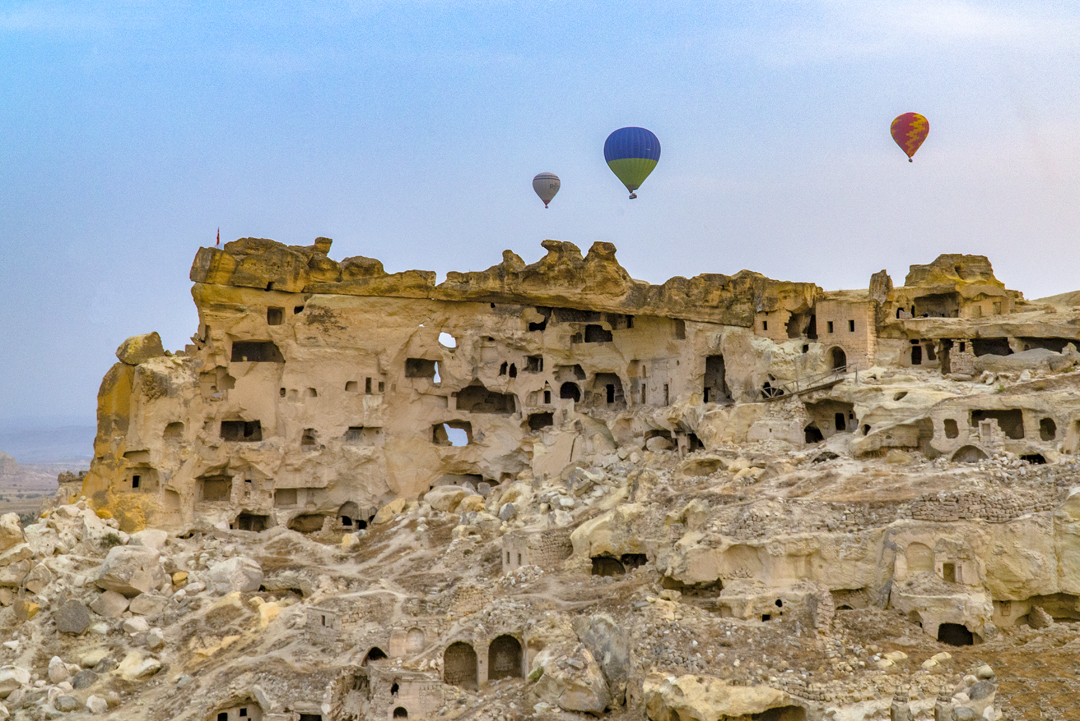 During the dominance of the Roman Empire, Christians fleeing built these houses and churches into the Nevsehir hillside.