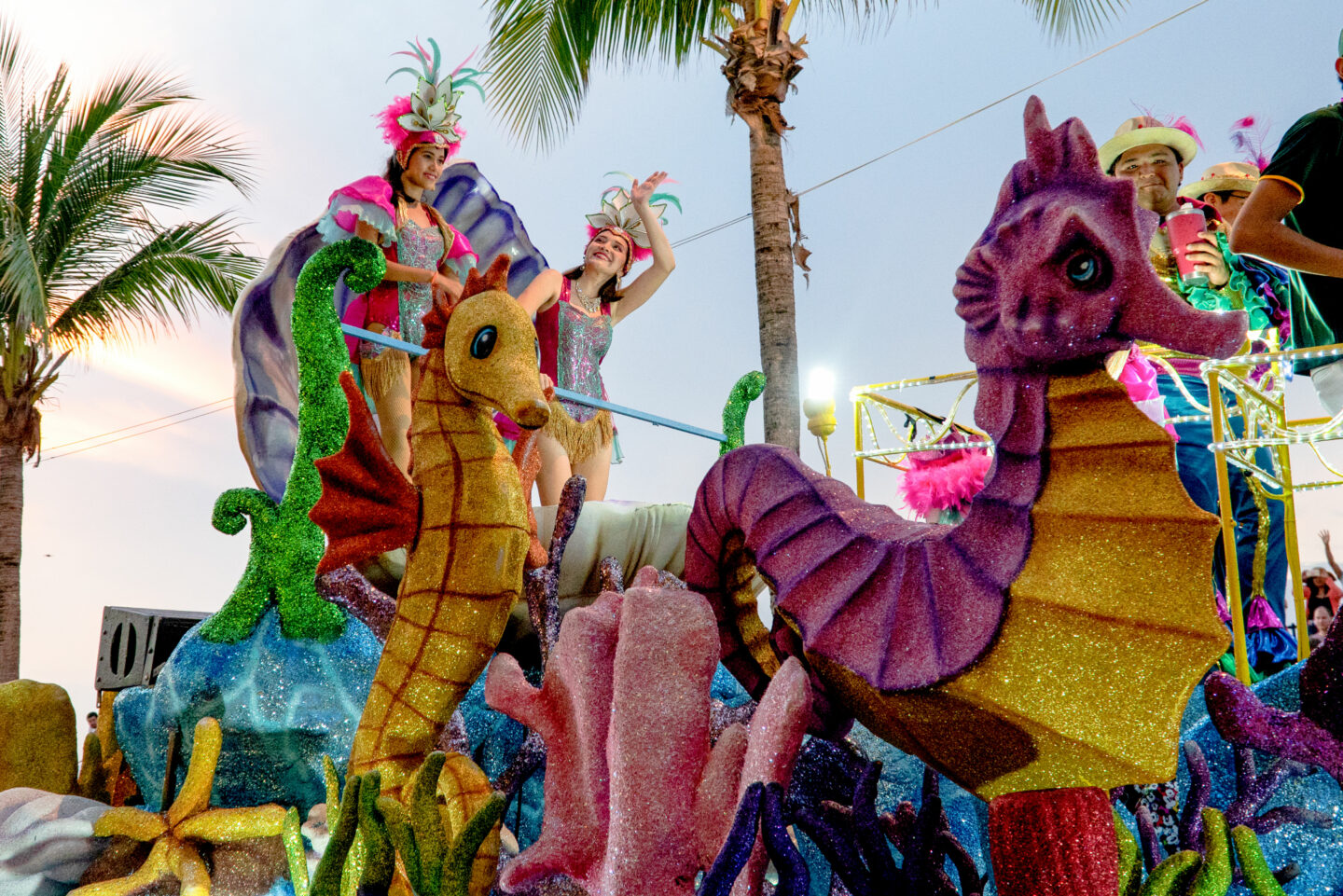 Carnaval in Cozumel.  Most events occur at the Parque Quintana Roo, where the parade begins.