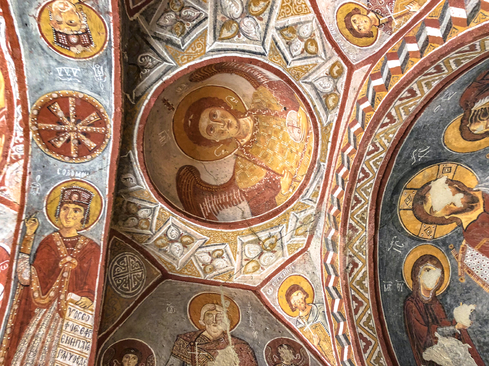 These well-preserved frescos in the Goreme Open Air Museum with original paint.