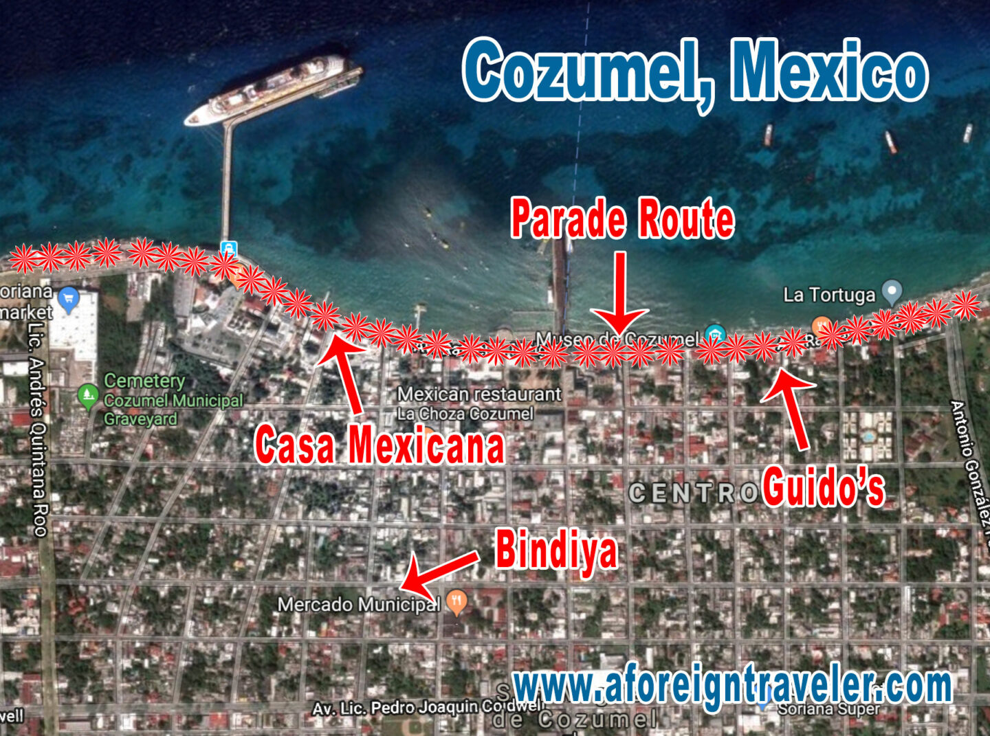 Map of Carnaval in Cozumel