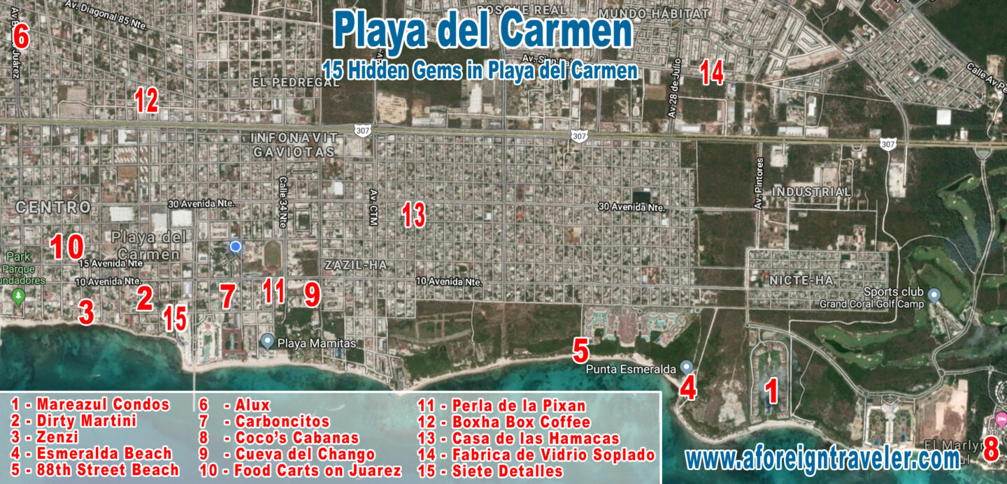 Map of Playa del Carmen's 15 Hidden Gems