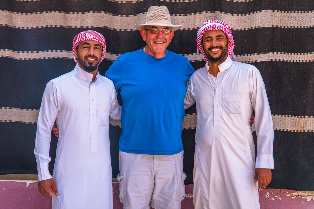 Bedouin tour in the Wadi Rum desert. Allan with our bedouin guides, Salem and his brother.