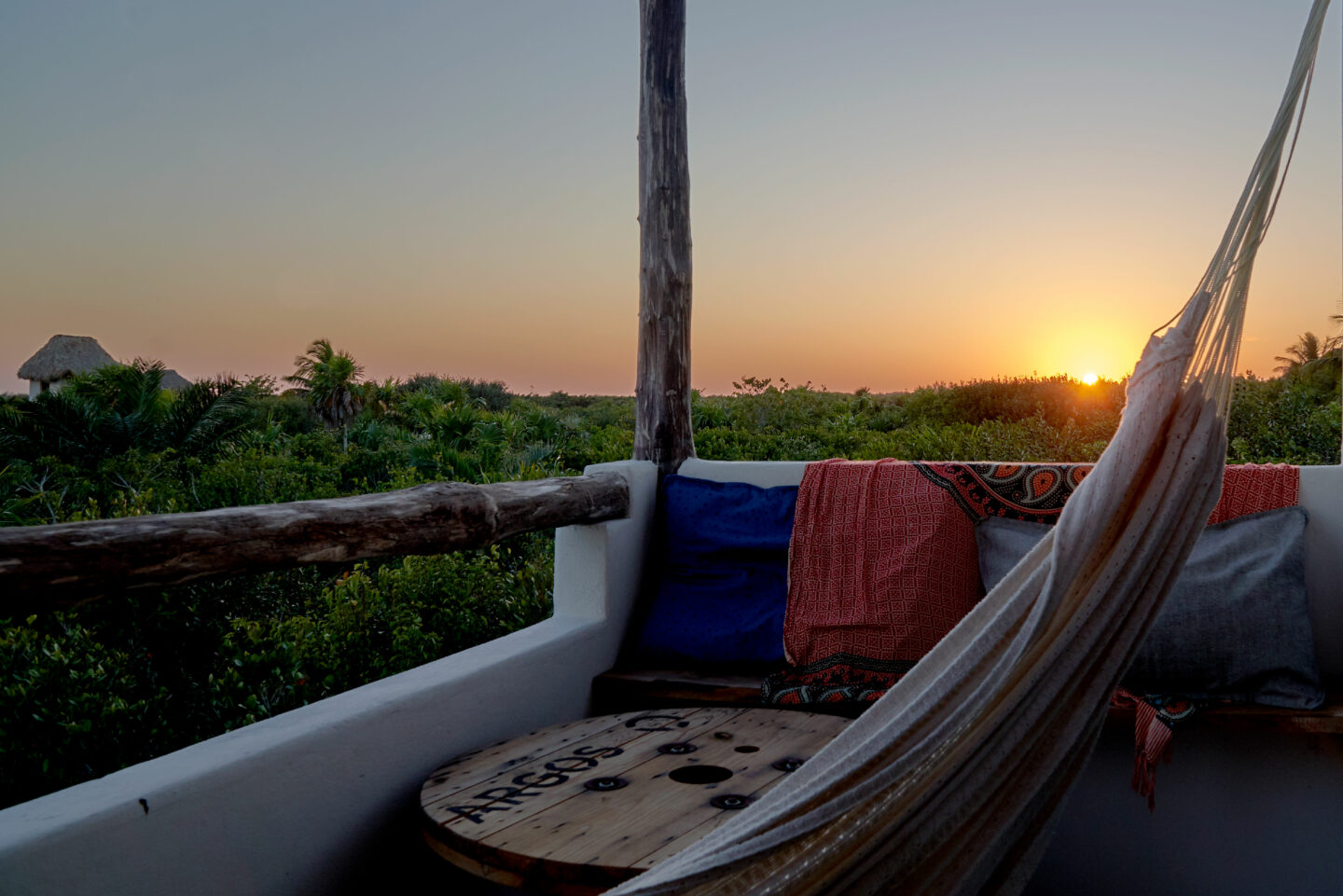 Sunset as seen from our terrace at LunArena Hotel. Make sure to stay on the jungle side for better views.