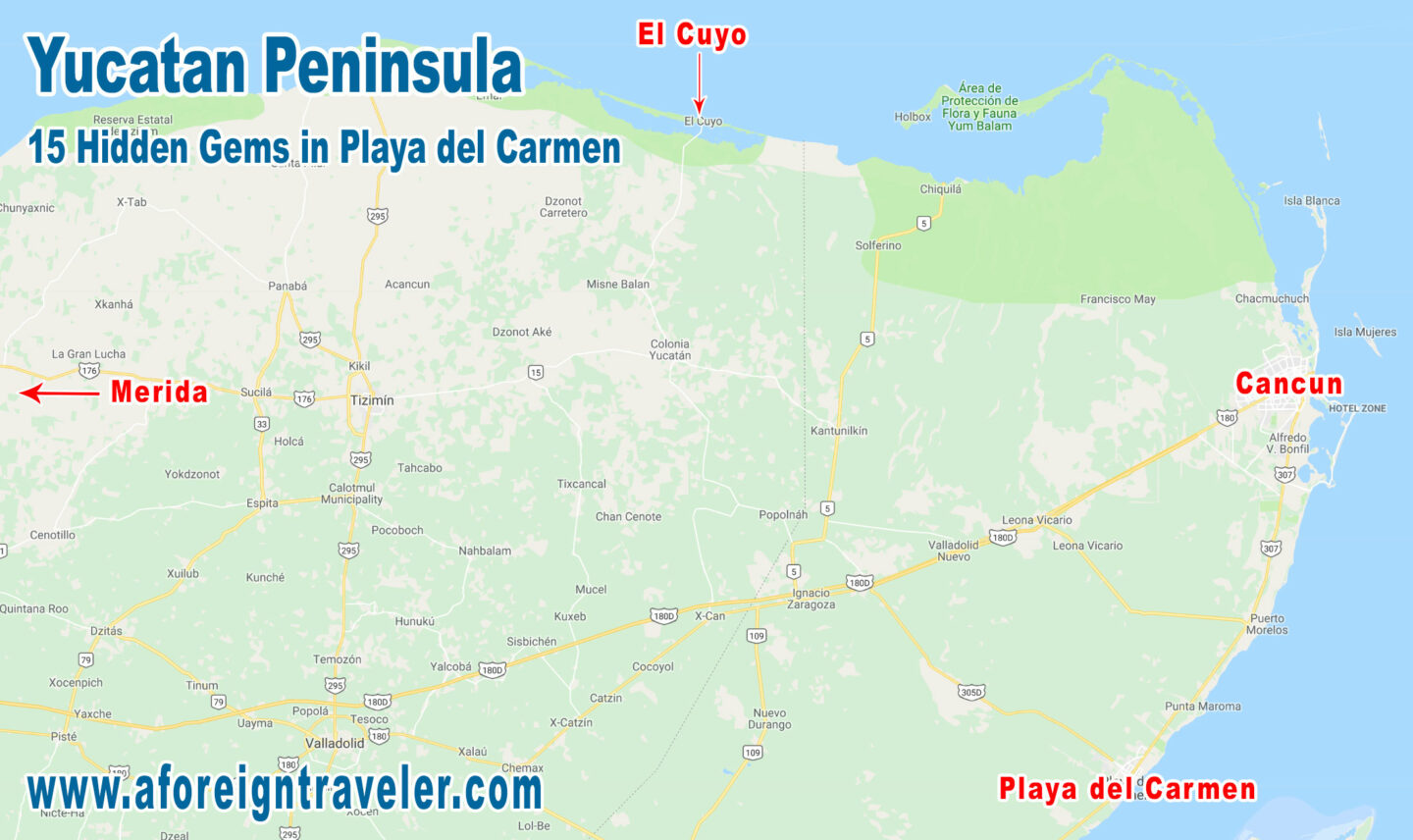 Map to El Cuyo, Yucatan, Mexico. One of the best parts of getting to El Cuyo is driving though all the small towns.