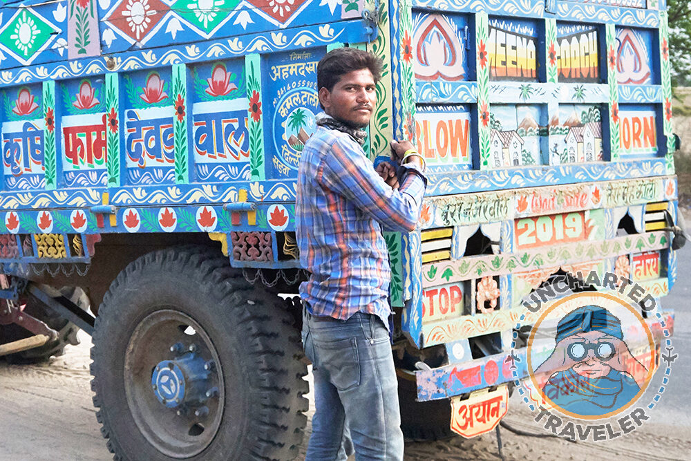 A driver and his truck on the way to Ranthambore. Truck driving is one of the largest sources of employment in India.