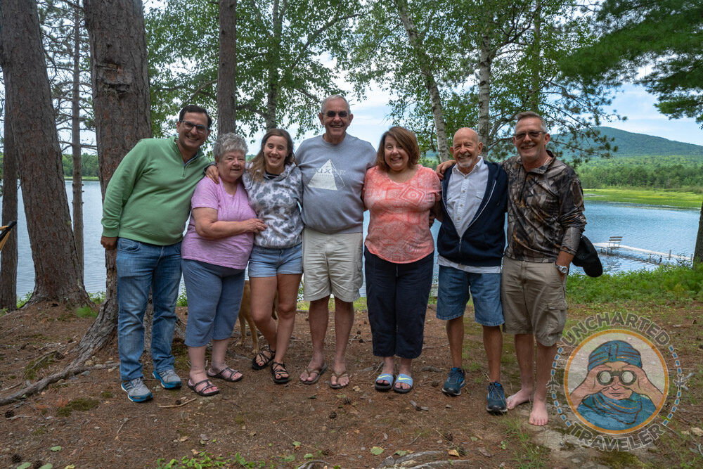 Allan and I at our families' cabin on Ebeemee Lake along with his first wife, granddaughter, brother, daughter and son-in-law. Allan's father built the cabin by hand before there were any roads leading to the cabin. All materials had to be brought in by boat.